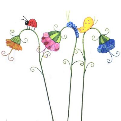 "Home & Garden 32.0"" Sleepy Flowers Set/3 Ladybug Snail Inch Worm Round Top Collection  -  Decorative Garden Stakes"