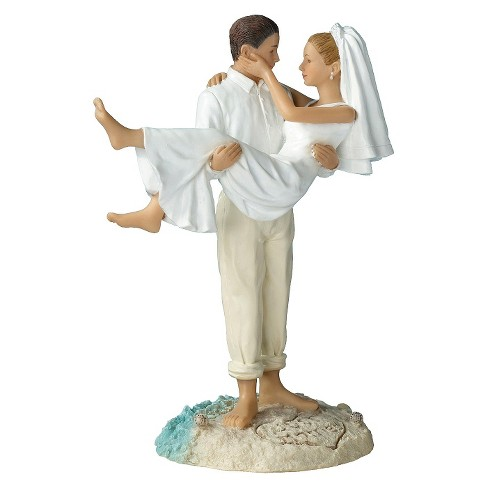 Caucasian Couple Beach Wedding Cake Topper - image 1 of 2