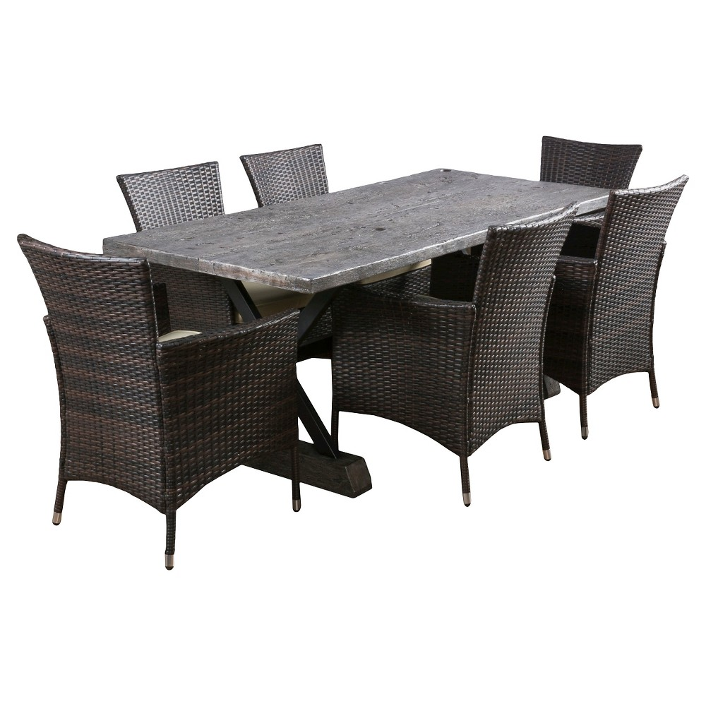 Capri 7pc Rectangle All-Weather Wicker Patio Dining Set w/Cushions - Brown - Christopher Knight Home