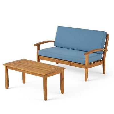 Peyton 2pc Acacia Wood Loveseat & Coffee Table Set - Christopher Knight Home