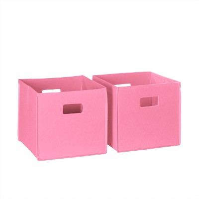 2pc Folding Toy Storage Bin Set Pink - RiverRidge