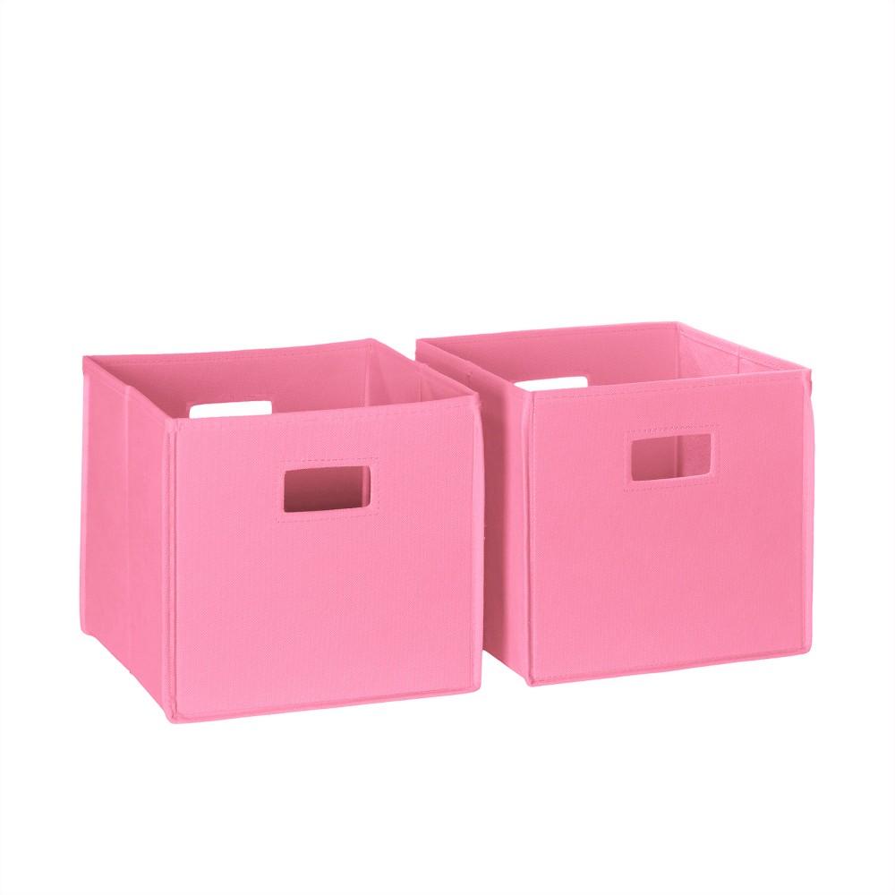 Image of RiverRidge 2pc Folding Toy Storage Bin Set - Pink (Cut-out Handle)
