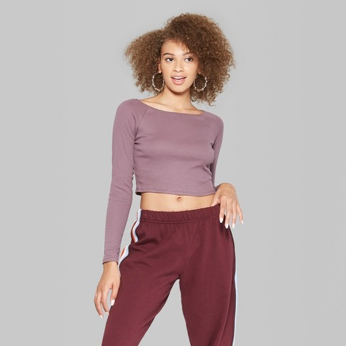 f31f194c81547 Women s Long Sleeve Off the Shoulder T-Shirt - Wild Fable™ Purple XS    Target