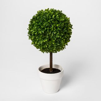 "15"" x 7"" Artificial Boxwood Topiary In Pot Green/White - Threshold™"