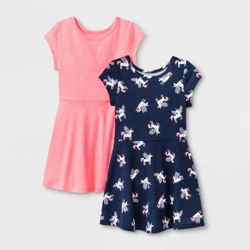Toddler Girls' 2pk Unicorn Print and Pink Dresses - Cat & Jack™ Navy/Pink - image 1 of 2
