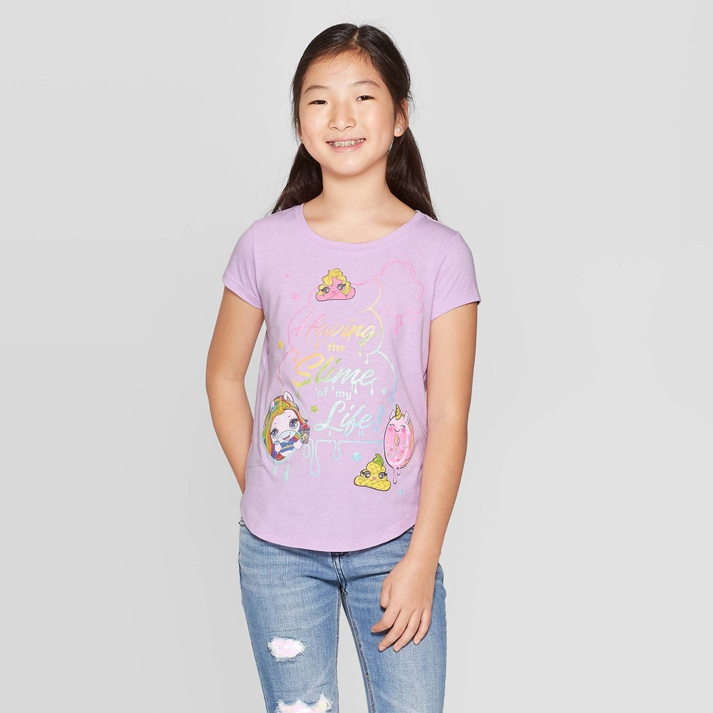Image of petiteGirls' Poopsie SlimeIs My Favorite Color Short Sleeve T-Shirt - Purple S, Girl's, Size: Small