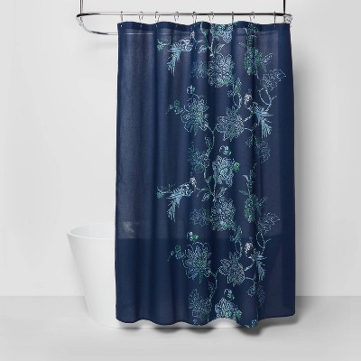 Placement Floral Shower Curtain Navy Blue - Threshold™