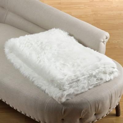 Faux Fur Throw Blanket White - Saro Lifestyle