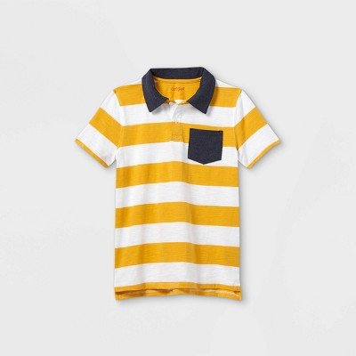 Boys' Short Sleeve Striped Knit Polo Shirt - Cat & Jack™ White/Gold