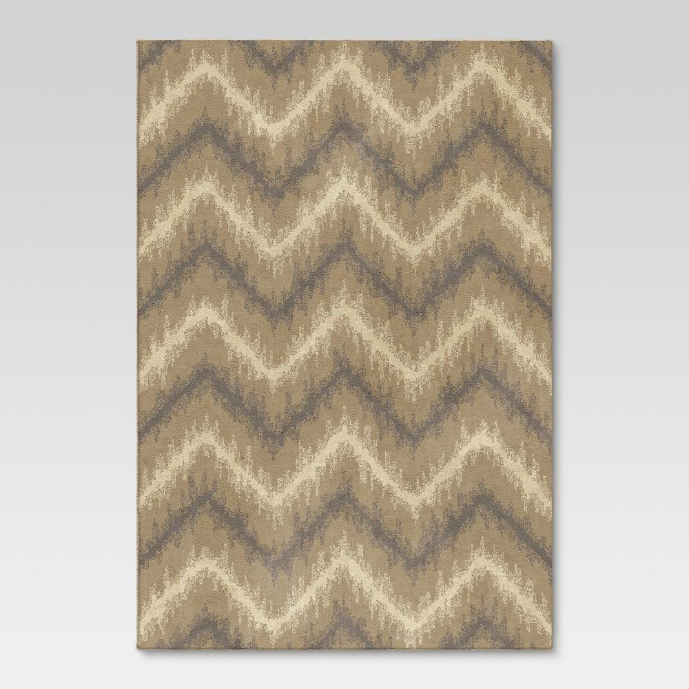 Chevron Ikat Fleece Area Rug - Beige (7'x10') - Threshold