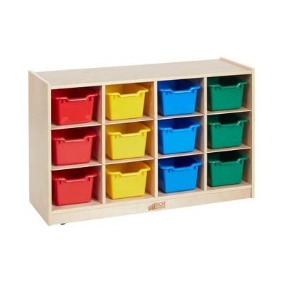Birch 12 Cubby Tray Storage Cabinet