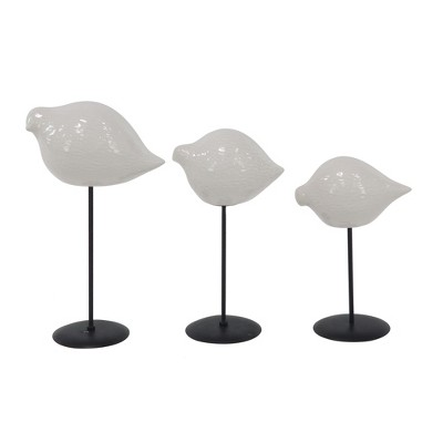 Decorative Figurine Set of 3 Birds - White - Olivia & May