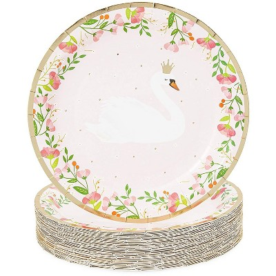 Sparkle and Bash 48 Princess Swan Girl Party Disposable Paper Dinner Plates Birthday Baby Shower Pink Floral