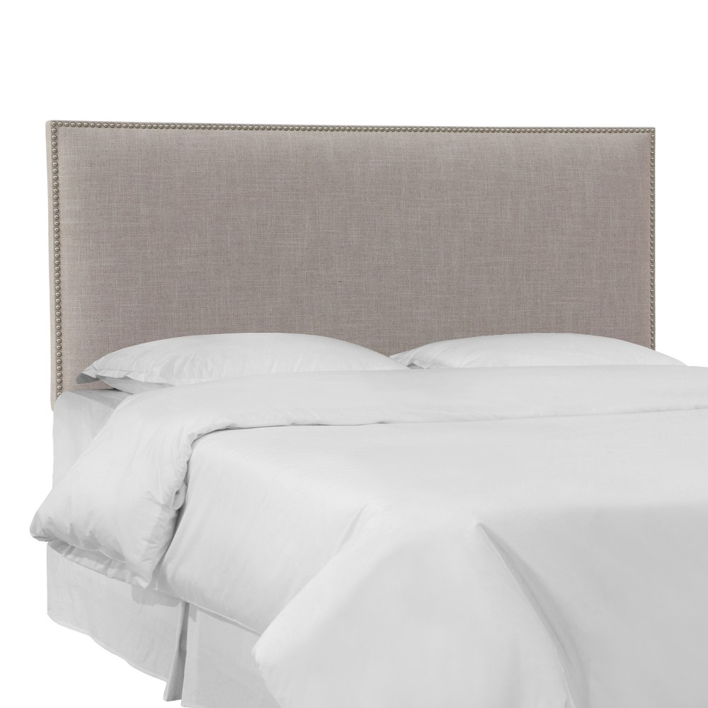 Full Bella Nail Button Border Headboard Feather Gray Linen with Pewter Nailbuttons - Skyline Furniture Cheap