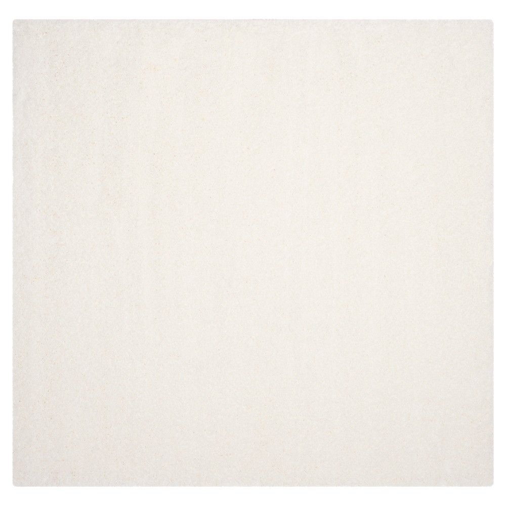 White Solid Loomed Square Area Rug - (6'7