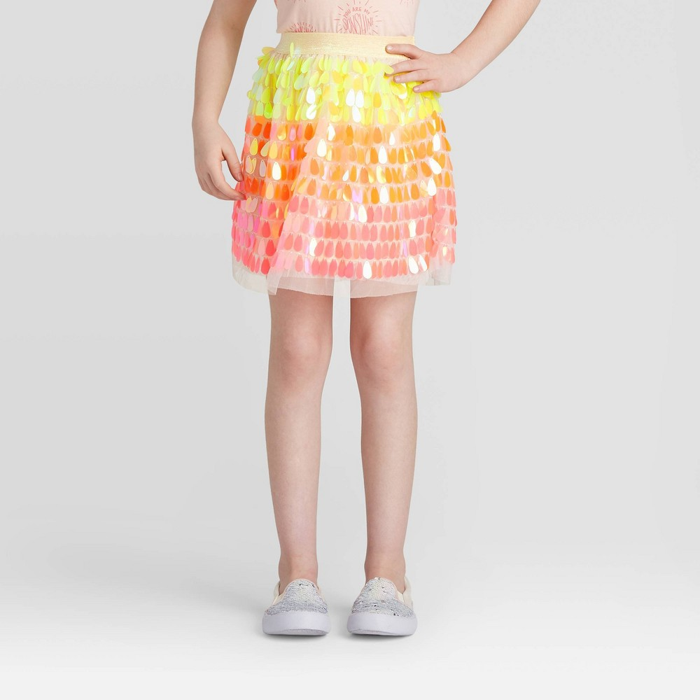 Image of Girls' Ombre Sequin Skirt - Cat & Jack Rainbow L, Girl's, Size: Large, Yellow