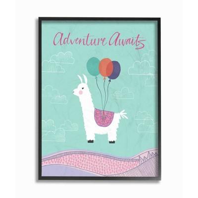"16""x1.5""x20"" Adventure Awaits Llama with Balloons Oversized Framed Giclee Texturized Art - Stupell Industries"