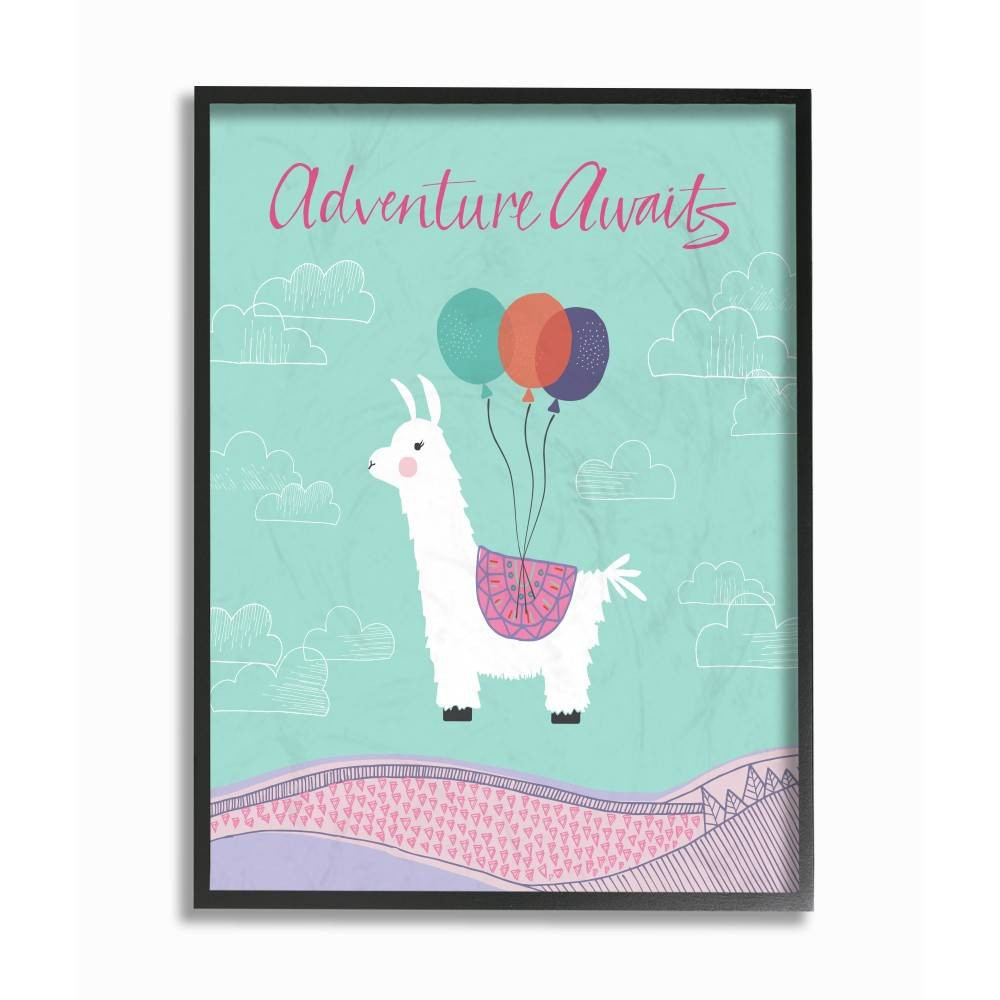 "Image of ""11""""x1.5""""x14"""" Adventure Awaits Llama with Balloons Framed Giclee Texturized Art - Stupell Industries"""