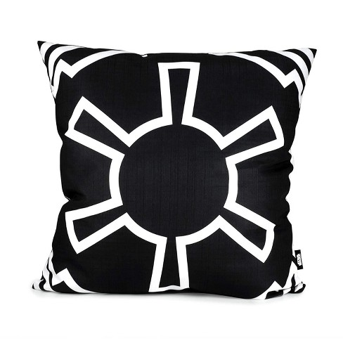 Se7en20 Star Wars White Imperial Symbol 25 x 25 Inch Black Square Outdoor Pillow - image 1 of 3