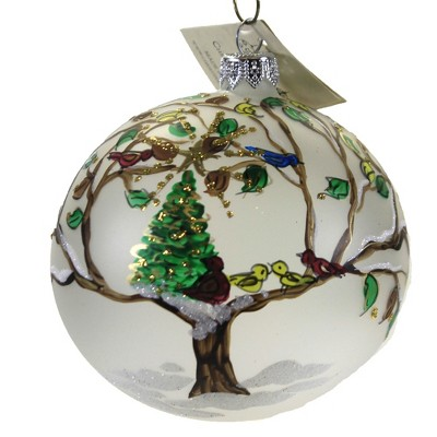 """Christina's World 3.75"""" Christmas In A Tree Ornament Blue Bird Cardinal Red  -  Tree Ornaments"""