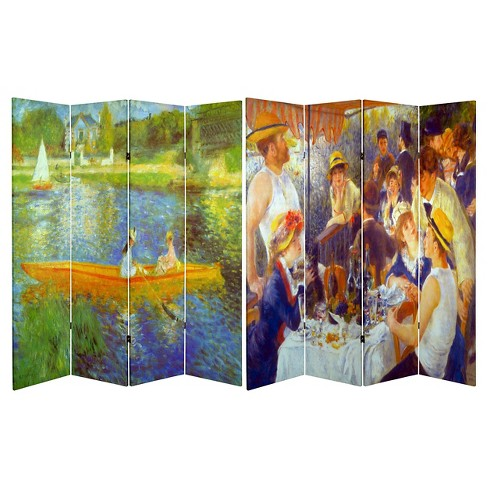 6 ft. Tall Double Sided Works of Renoir Room Divider The Seine/The Luncheon - Oriental Furniture - image 1 of 3