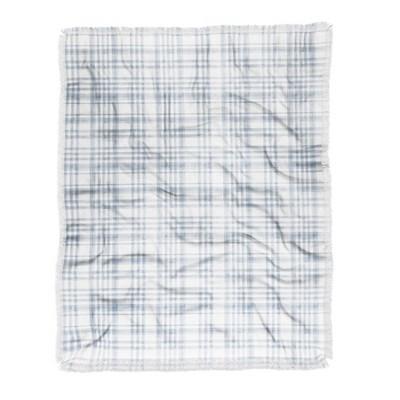 "50""x60"" Little Arrow Design Co Winter Watercolor Plaid Woven Throw Blanket Blue - Deny Designs"