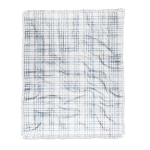 """50""""x60"""" Little Arrow Design Co Winter Watercolor Plaid Woven Throw Blanket Blue - Deny Designs - image 1 of 2"""
