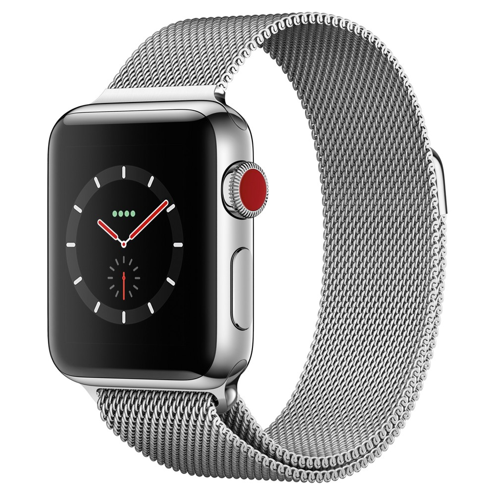 Apple Watch Series 3 38mm (Gps + Cellular) Stainless Steel Case Milanese Loop Band - Milanese Answer a call from your surfboard. Ask Siri to send a message. Stream your favorite songs on your run. And do it all while leaving your phone behind. Introducing Apple Watch Series 3 with cellular. Now you have the freedom to go with just your watch. Color: Milanese.