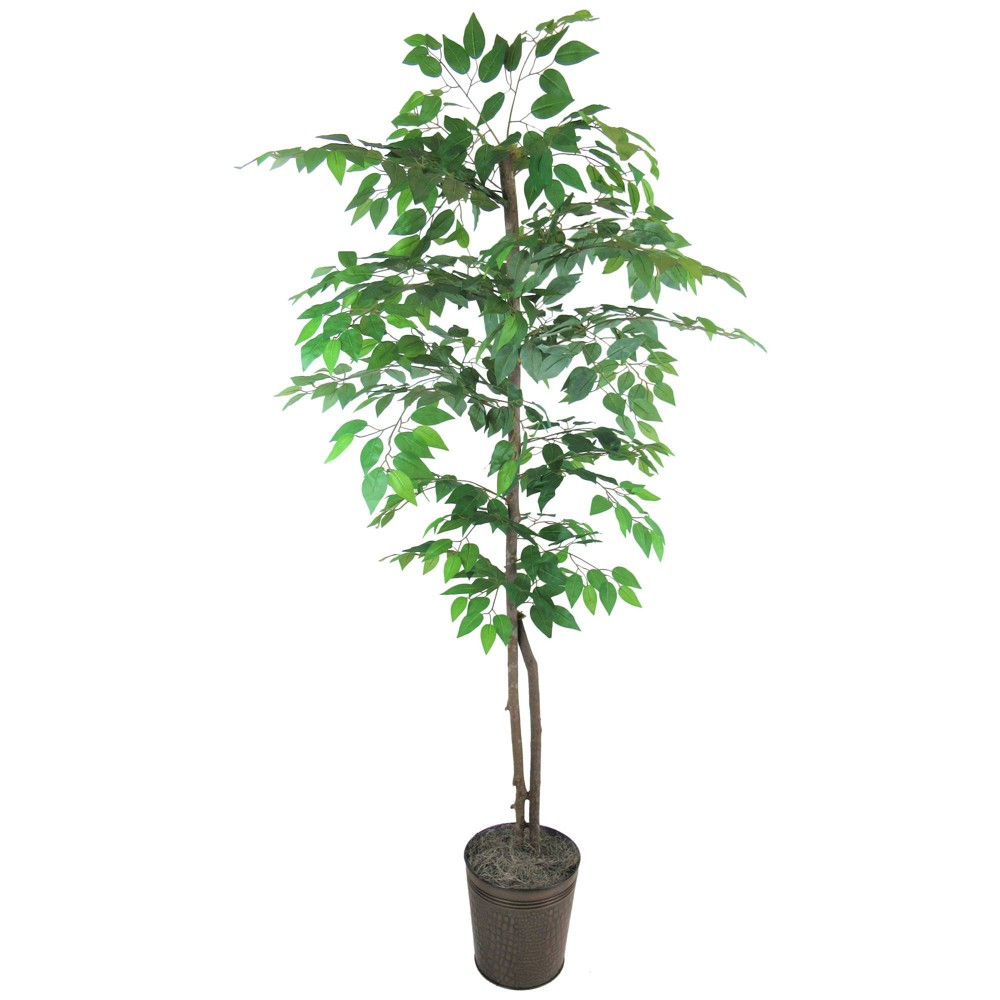 Image of 6ft Artificial Ficus Tree in Metal Container Green - LCG Florals