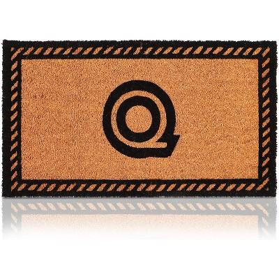 Monogrammed Door Mat with Letter Q, Nonslip Coir Welcome Mat (17 x 30 Inches)