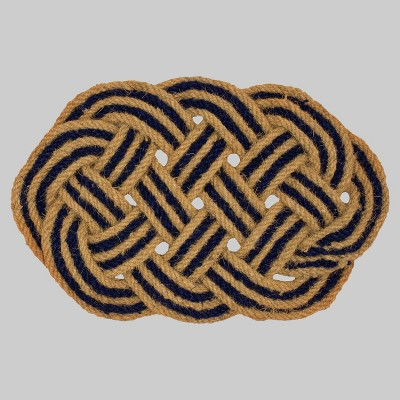 18  x 30  Oval Braided Outdoor Doormat Navy - Threshold™