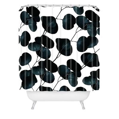 83 Oranges Dark Leaves Shower Curtain Black/White - Deny Designs
