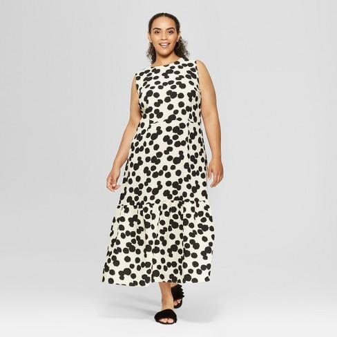 Womens Plus Size Polka Dot Sleeveless Ruffle Midi Dress Who What