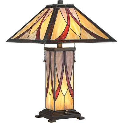 Franklin Iron Works Tiffany Style Accent Table Lamp with Nightlight LED Art Glass Shade and Body for Living Room Bedroom Office