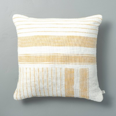 "18"" x 18"" Patch Stripes Woven Throw Pillow Yellow - Hearth & Hand™ with Magnolia"