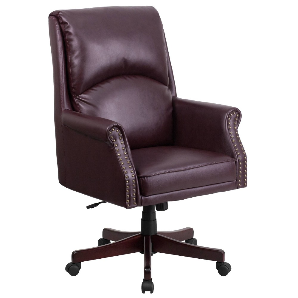 Image of High Back Pillow Back Burgundy Leather Executive Swivel Office Chair - Flash Furniture, Red