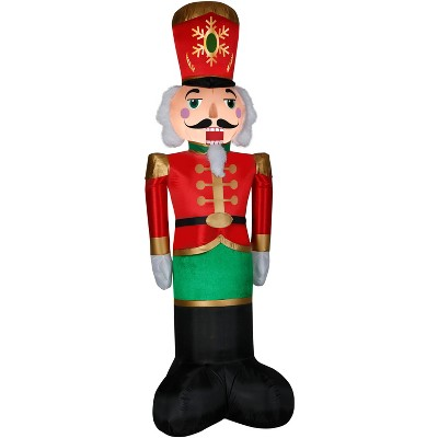Gemmy Christmas Airblown Inflatable Mixed Media Luxe Nutcracker, 8 ft Tall, Multicolored