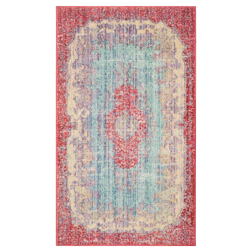 Light Blue/Fuchsia Medallion Loomed Accent Rug 3'X5' - Safavieh, Blue Pink