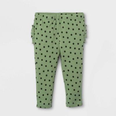 Baby Girls' Dot Ruffle Bum Leggings - Cat & Jack™ Olive Green 0-3M