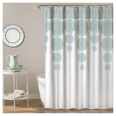 Stripe Medallion Shower Curtain Blue - Lush Decor
