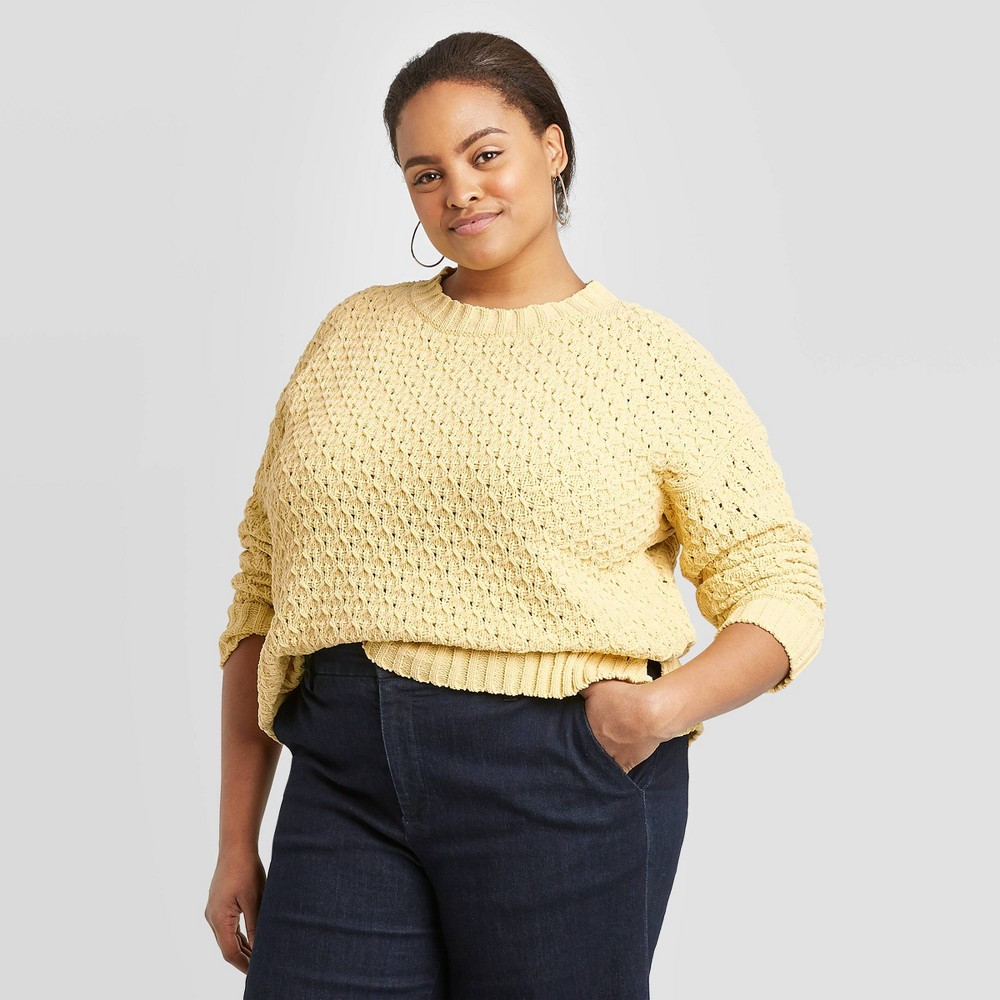 Women's Plus Size Crewneck Textured Pullover Sweater - A New Day Yellow 1X, Women's, Size: 1XL was $29.99 now $20.99 (30.0% off)