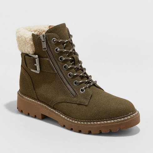 Women's Susan Sherpa Hiker Boots - Universal Thread™ Olive - image 1 of 3