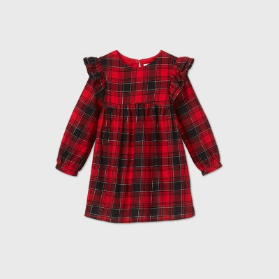 Toddler Girls' Plaid with Shine Long Sleeve Dress - Cat & Jack™ Red 2T