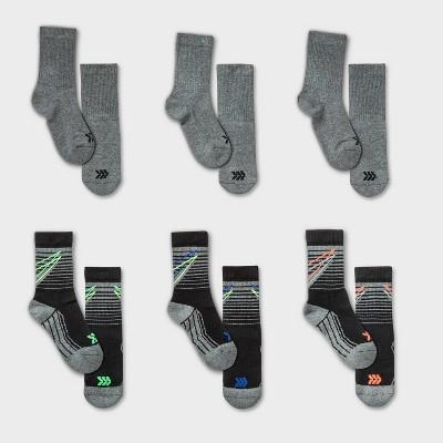 Kids' 6pk Bolt Stripe Crew Athletic Socks - All in Motion™ Black