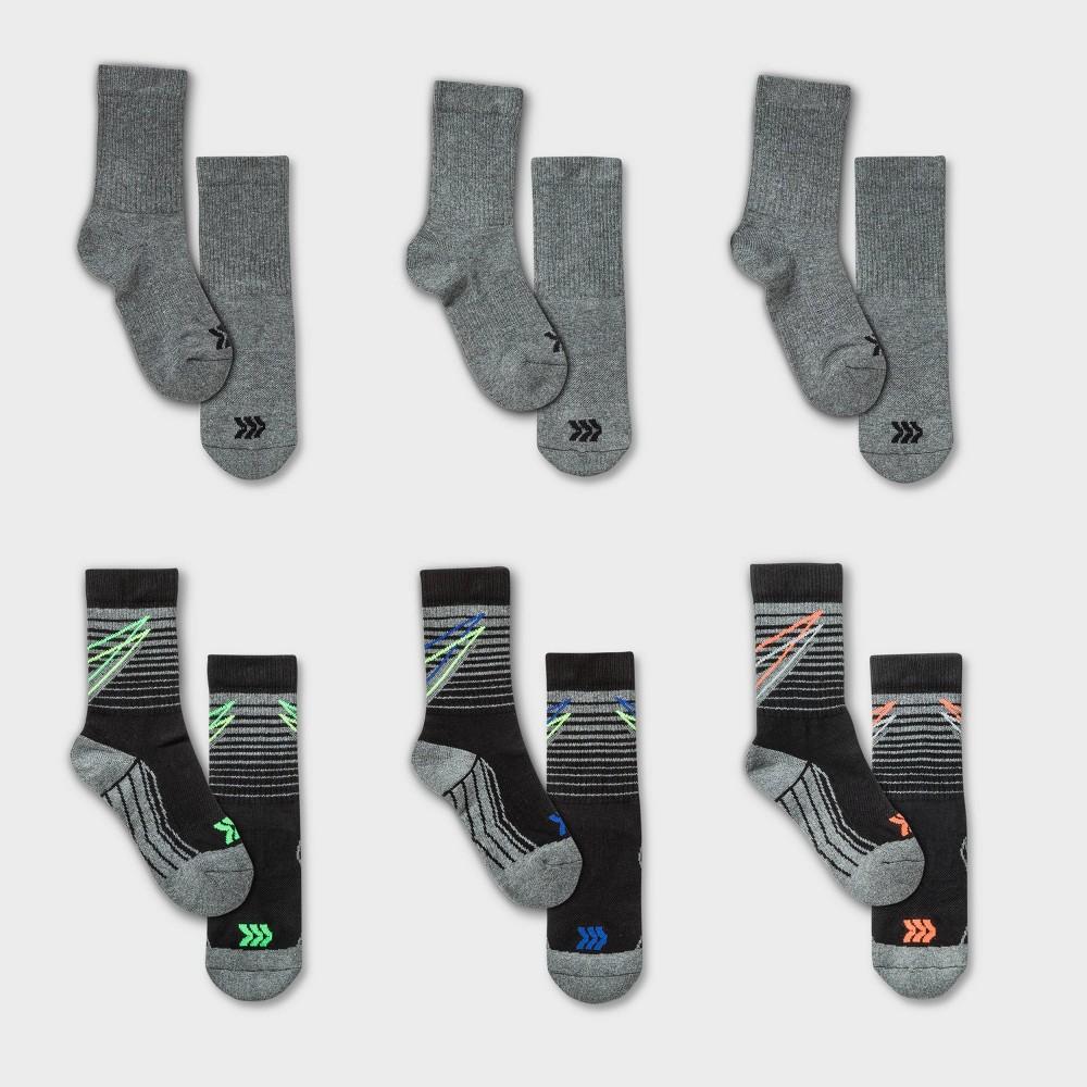 Kids 39 6pk Bolt Stripe Crew Athletic Socks All In Motion 8482 Black L