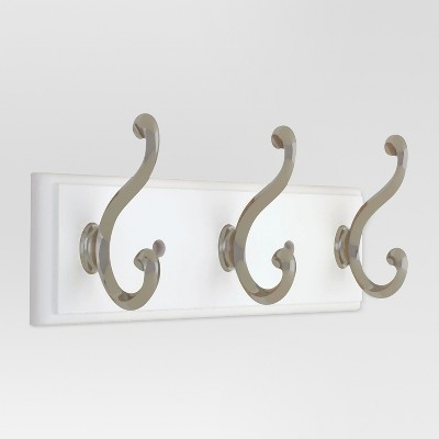 10  3-scroll Hook Rack - White/Satin Nickel - Threshold™