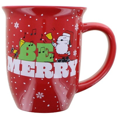Silver Buffalo Peanuts Be Merry 16 Ounce Wide Rim Ceramic Mug