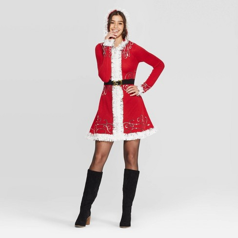 Women's Long Sleeve Santa Ugly Holiday A-Line Mini Dress - Born Famous (Juniors') - Red - image 1 of 2