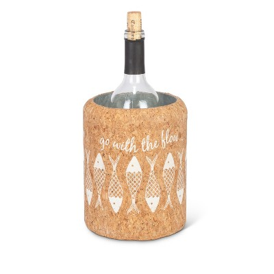 Lone Elm Studios 7.5-Inch Tall Corked Wrapped Galvanized Metal Wine Chiller with Fish Motif on the Cork