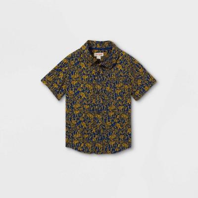 Toddler Boys' Tiger Print Challis Woven Short Sleeve Button-Down Shirt - Cat & Jack™ Blue 18M